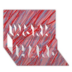 Pink and red decorative pattern WORK HARD 3D Greeting Card (7x5)