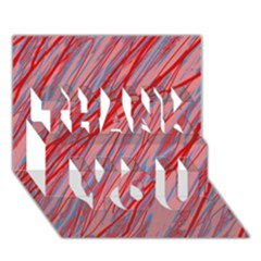 Pink and red decorative pattern THANK YOU 3D Greeting Card (7x5)