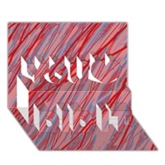 Pink and red decorative pattern You Did It 3D Greeting Card (7x5)
