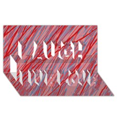 Pink and red decorative pattern Laugh Live Love 3D Greeting Card (8x4)