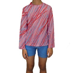 Pink and red decorative pattern Kid s Long Sleeve Swimwear