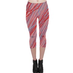 Pink and red decorative pattern Capri Leggings