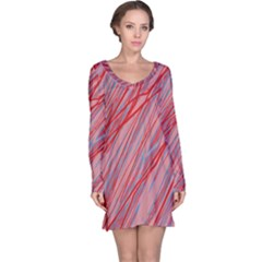 Pink and red decorative pattern Long Sleeve Nightdress