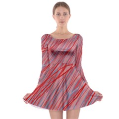 Pink and red decorative pattern Long Sleeve Skater Dress