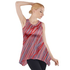 Pink And Red Decorative Pattern Side Drop Tank Tunic
