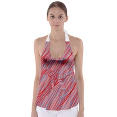 Pink and red decorative pattern Babydoll Tankini Top