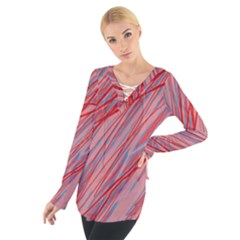 Pink And Red Decorative Pattern Women s Tie Up Tee