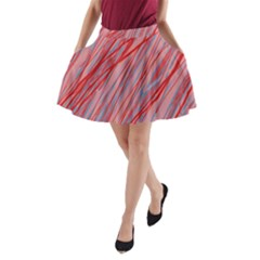 Pink and red decorative pattern A-Line Pocket Skirt