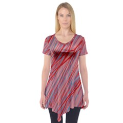 Pink and red decorative pattern Short Sleeve Tunic