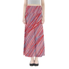 Pink and red decorative pattern Maxi Skirts