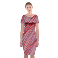 Pink And Red Decorative Pattern Classic Short Sleeve Midi Dress