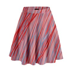 Pink And Red Decorative Pattern High Waist Skirt