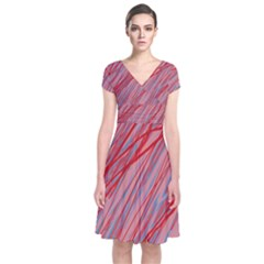 Pink and red decorative pattern Short Sleeve Front Wrap Dress