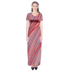 Pink and red decorative pattern Short Sleeve Maxi Dress