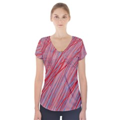 Pink and red decorative pattern Short Sleeve Front Detail Top