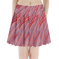 Pink And Red Decorative Pattern Pleated Mini Mesh Skirt