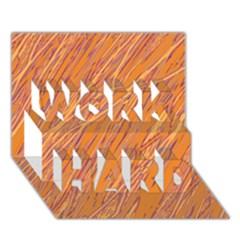 Orange pattern WORK HARD 3D Greeting Card (7x5)