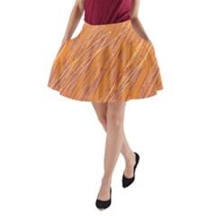 Orange pattern A-Line Pocket Skirt