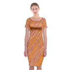 Orange pattern Classic Short Sleeve Midi Dress