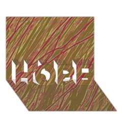 Brown elegant pattern HOPE 3D Greeting Card (7x5)