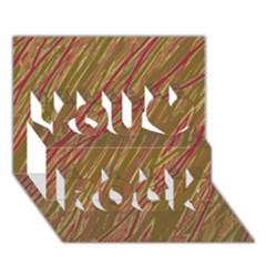 Brown elegant pattern You Rock 3D Greeting Card (7x5)
