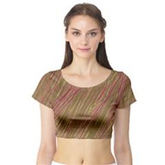 Brown elegant pattern Short Sleeve Crop Top (Tight Fit)