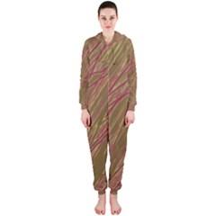 Brown elegant pattern Hooded Jumpsuit (Ladies)
