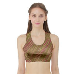 Brown elegant pattern Sports Bra with Border