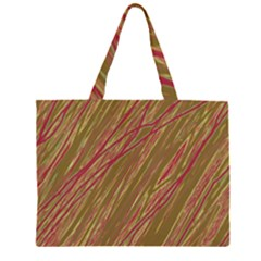 Brown elegant pattern Zipper Large Tote Bag