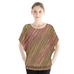 Brown elegant pattern Batwing Chiffon Blouse