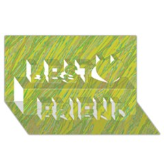 Green and yellow Van Gogh pattern Best Friends 3D Greeting Card (8x4)