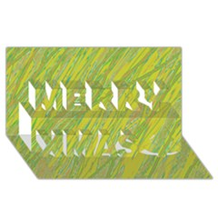 Green and yellow Van Gogh pattern Merry Xmas 3D Greeting Card (8x4)
