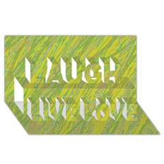 Green and yellow Van Gogh pattern Laugh Live Love 3D Greeting Card (8x4)