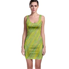 Green and yellow Van Gogh pattern Sleeveless Bodycon Dress