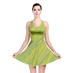 Green and yellow Van Gogh pattern Reversible Skater Dress