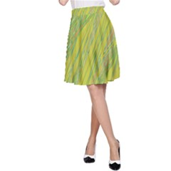 Green and yellow Van Gogh pattern A-Line Skirt