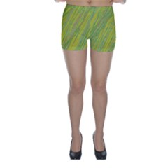 Green and yellow Van Gogh pattern Skinny Shorts