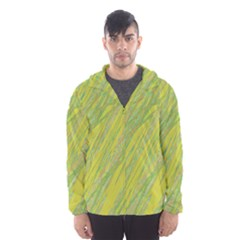 Green and yellow Van Gogh pattern Hooded Wind Breaker (Men)