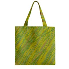 Green and yellow Van Gogh pattern Zipper Grocery Tote Bag