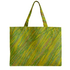 Green and yellow Van Gogh pattern Zipper Mini Tote Bag