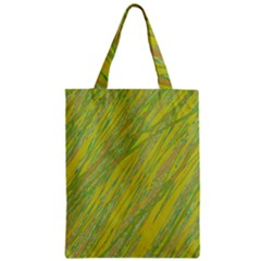 Green and yellow Van Gogh pattern Zipper Classic Tote Bag