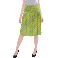 Green and yellow Van Gogh pattern Midi Beach Skirt