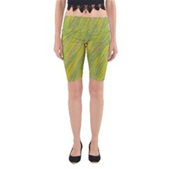 Green and yellow Van Gogh pattern Yoga Cropped Leggings