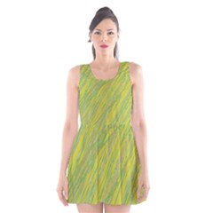 Green And Yellow Van Gogh Pattern Scoop Neck Skater Dress