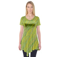 Green and yellow Van Gogh pattern Short Sleeve Tunic
