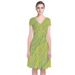 Green and yellow Van Gogh pattern Short Sleeve Front Wrap Dress