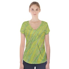 Green and yellow Van Gogh pattern Short Sleeve Front Detail Top