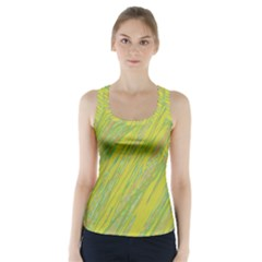 Green and yellow Van Gogh pattern Racer Back Sports Top