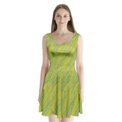 Green And Yellow Van Gogh Pattern Split Back Mini Dress