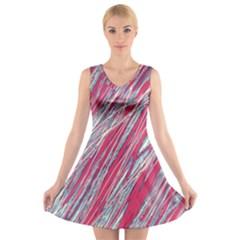 Purple decorative pattern V-Neck Sleeveless Skater Dress